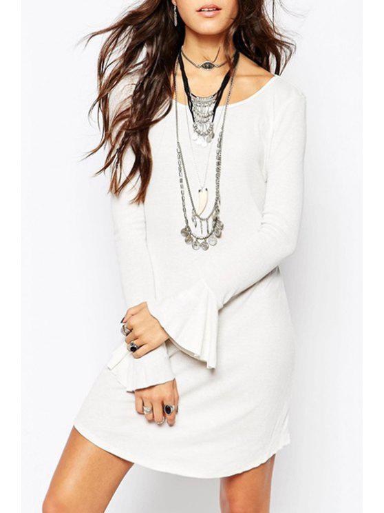 unique Bell Sleeve Irregular Hem White Sweater Dress - WHITE L