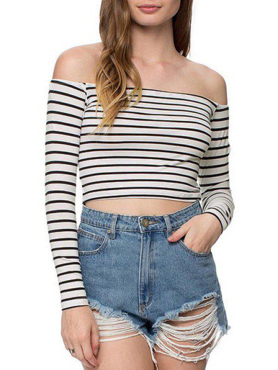 ladies Slash Neck Stripe Long Sleeve Crop Top - WHITE AND BLACK XS