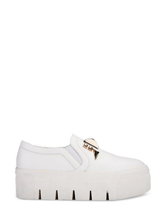 fancy Metal Rivets Solid Color Platform Shoes - OFF-WHITE 35