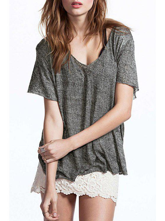 outfits Loose Fitting Short Sleeve T-Shirt - GRAY XS