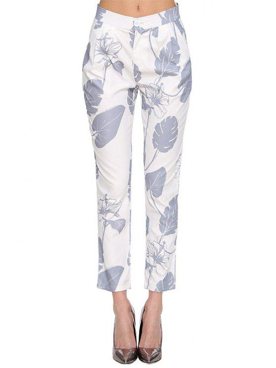 best Floral Leaves Print Pants - WHITE XS