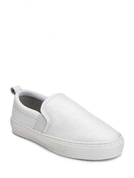 hot Round Toe Platform Solid Color Flat Shoes - WHITE 35