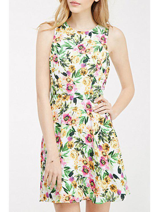 hot Jewel Neck Backless Floral Print Dress - GREEN 2XL