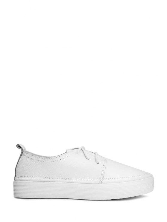 affordable Lace-Up Platform Solid Color Flat Shoes - WHITE 39
