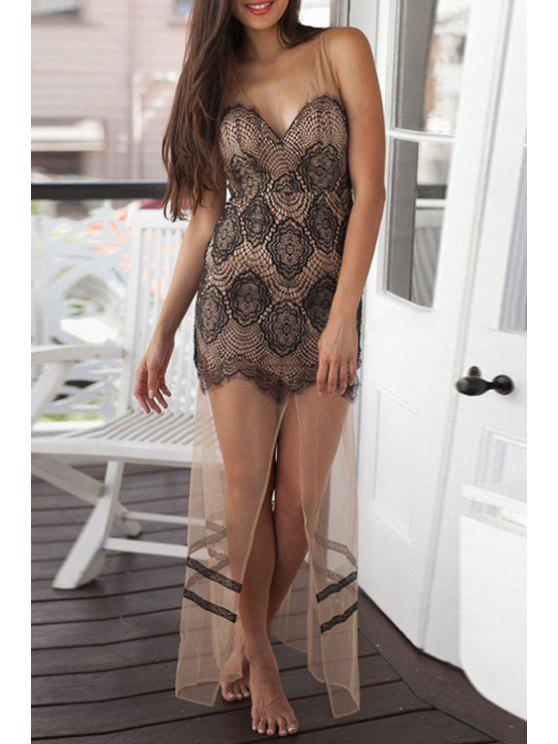 lady V Neck See-Through Backless Lace Dress - BLACK M