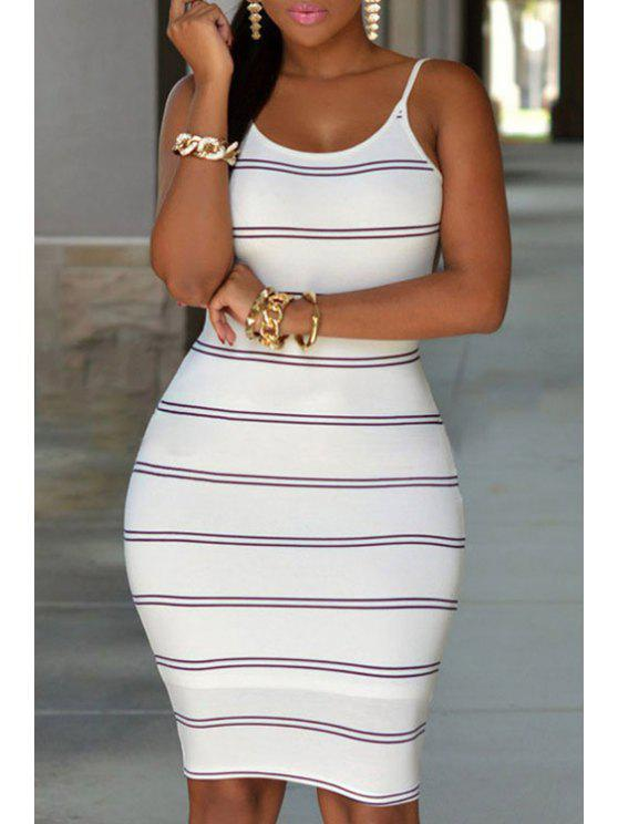 women Spaghetti Strap Stripes Backless Dress - WHITE ONE SIZE(FIT SIZE XS TO M)