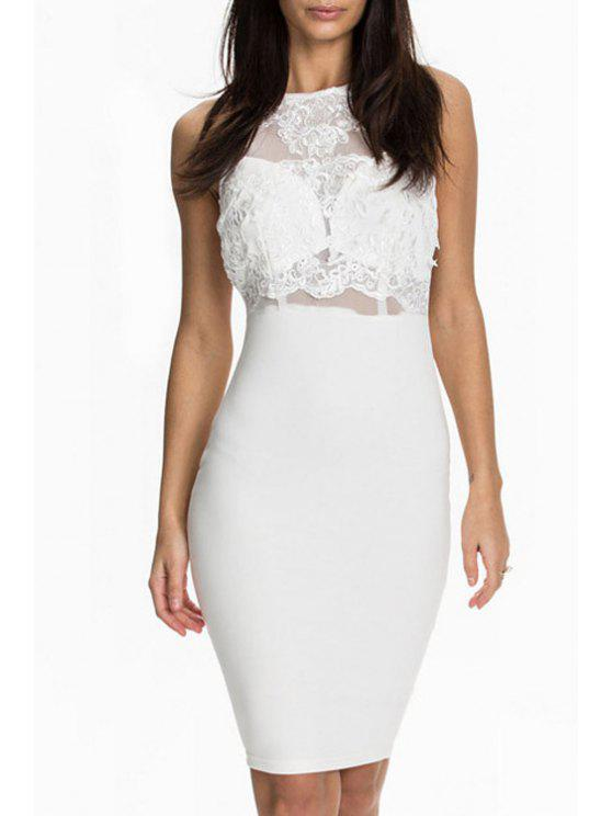 chic See-Through White Lace Splicing Dress - WHITE M