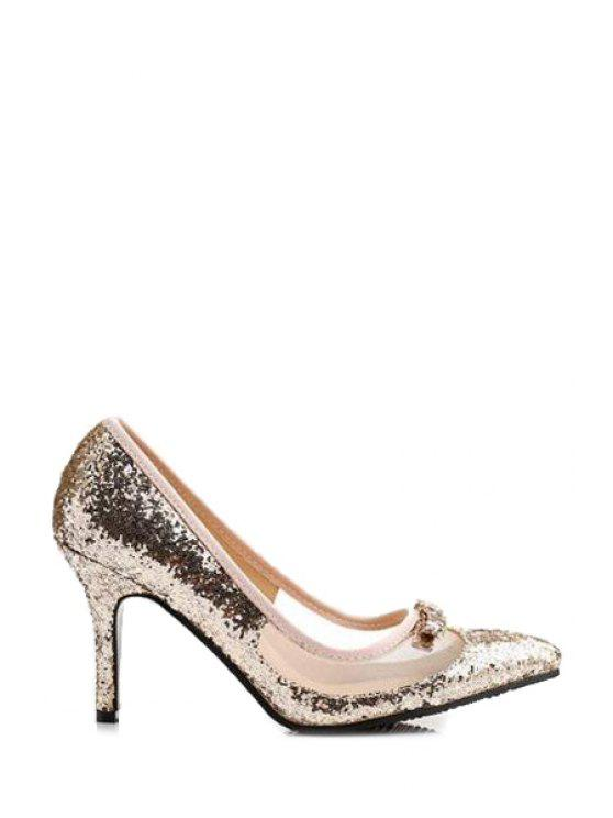 lady Sequined Transparent Bow Pumps - GOLDEN 34