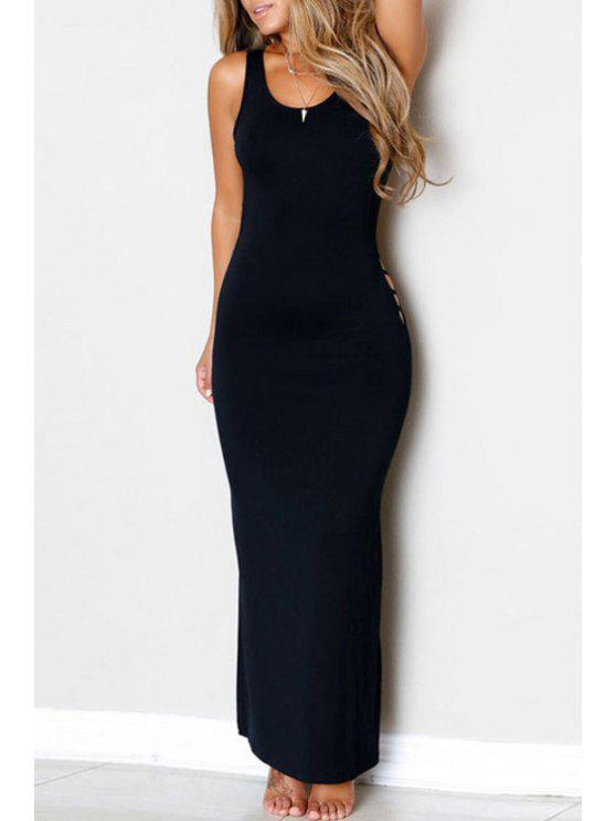 outfit Sexy Style Scoop Neck Backless Openwork Sleeveless Dress For Women - BLACK ONE SIZE(FIT SIZE XS TO M)