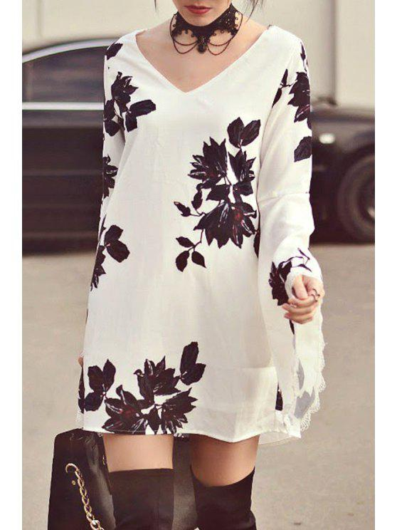 affordable Floral Print V Neck Long Sleeve Dress - WHITE S