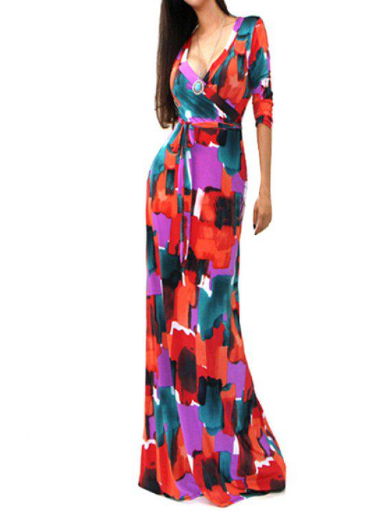 fancy Ink Print 3/4 Sleeve Maxi Dress - RED S