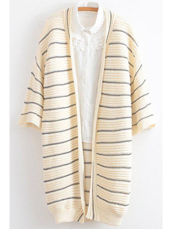 trendy Stripe Openwork 3/4 Sleeve Cardigan - BEIGE ONE SIZE(FIT SIZE XS TO M)