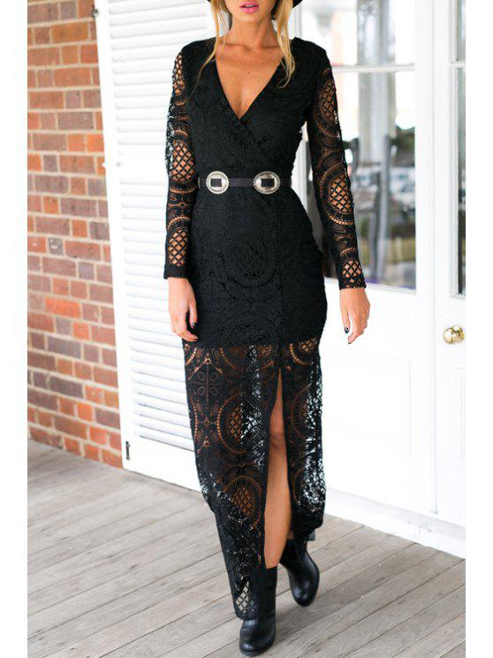 outfit High Plunging Neck Long Sleeve Slit Maxi Dress - BLACK XL