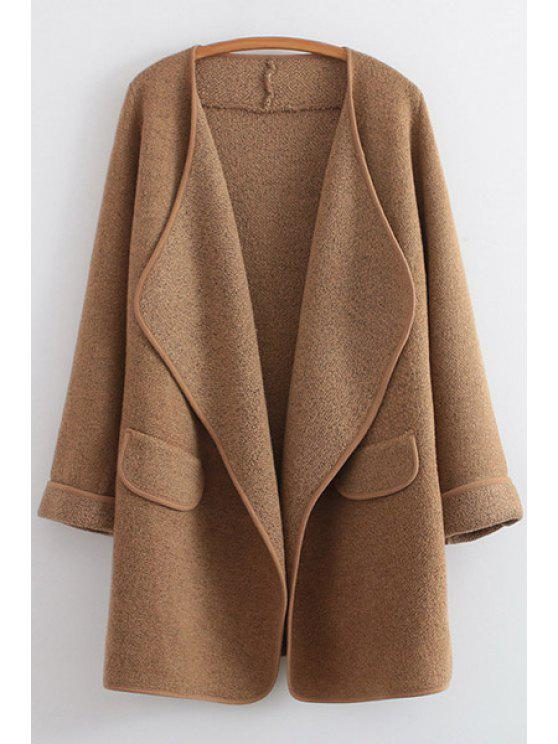 affordable Golilla Solid Color Long Sleeve Cardigan - KHAKI ONE SIZE(FIT SIZE XS TO M)