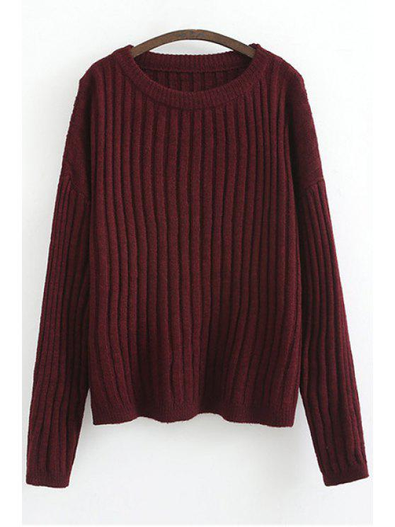 women's Solid Color Stripe Long Sleeve Sweater - RED ONE SIZE(FIT SIZE XS TO M)