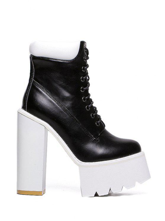 shop Platform Round Toe Lace-Up Boots - BLACK 34