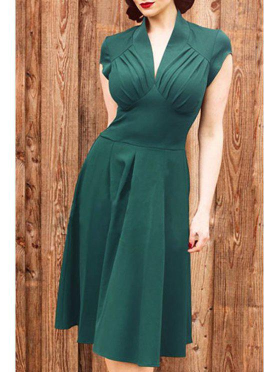 chic Solid Color V Neck Short Sleeve Midi Dress - GREEN S