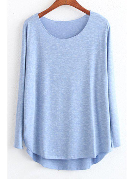 T-shirt à style casual à couleur claire à col rond à manches longues à coupe haut bas - Bleu Foncé Taille Unique(S'adap