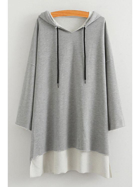 women High Low Solid Color Long Sleeve Hoodie - GRAY ONE SIZE(FIT SIZE XS TO M)