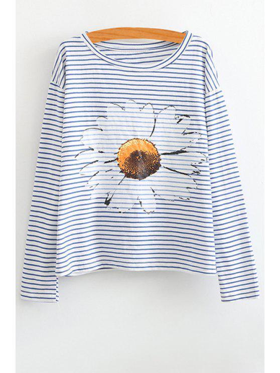lady Floral Stripe Long Sleeve T-Shirt - WHITE M