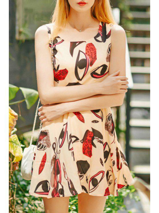 outfit Eyes Printed Sleeveless Dress - COLORMIX S