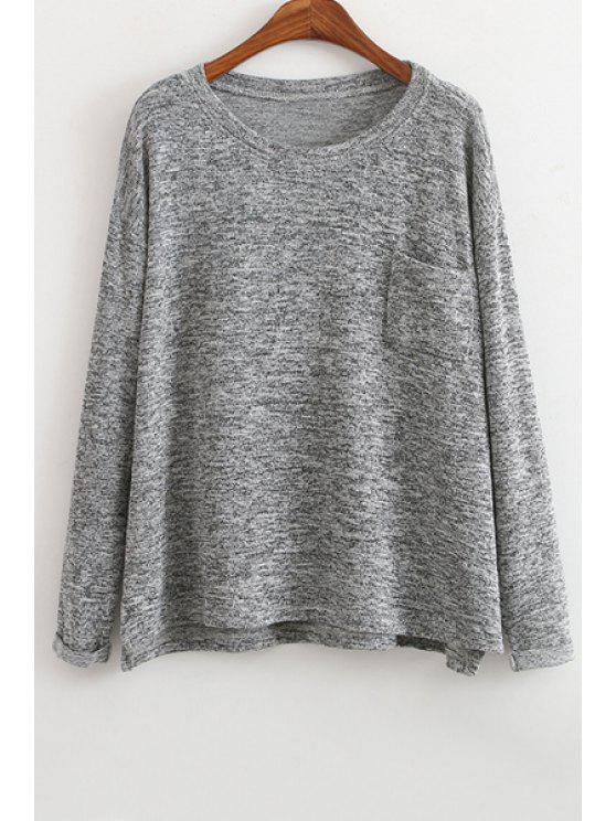 fancy Color Mixed Pocket Long Sleeve Sweater - LIGHT GRAY ONE SIZE(FIT SIZE XS TO M)