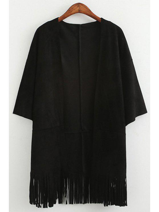 fancy Collarless Solid Color Fringe 3/4 Sleeve Coat - BLACK ONE SIZE(FIT SIZE XS TO M)