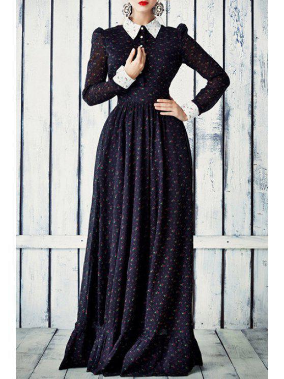 latest Long Sleeve Tiny Floral Print Maxi Dress - DEEP BLUE S