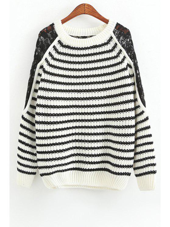 womens White Black Stripe Lace Splicing Sweater - WHITE ONE SIZE(FIT SIZE XS TO M)