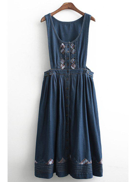 best Scoop Neck Applique Bleach Wash Dress - BLUE ONE SIZE(FIT SIZE XS TO M)