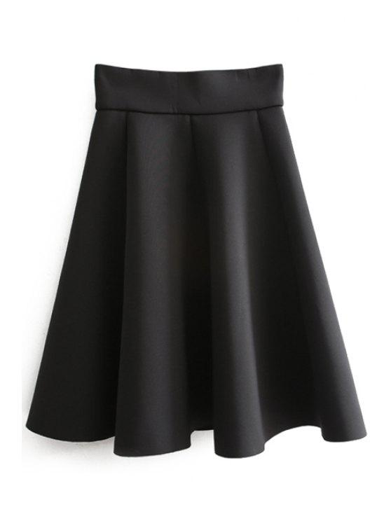 chic Solid Color A Line Skirt - BLACK ONE SIZE(FIT SIZE XS TO M)