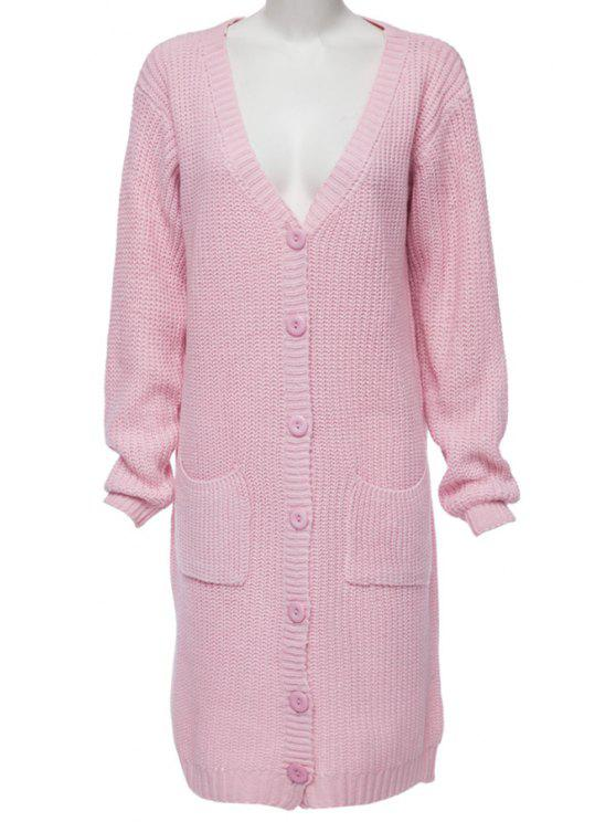 women Single-Breasted Pocket Long Cardigan - PINK ONE SIZE(FIT SIZE XS TO M)