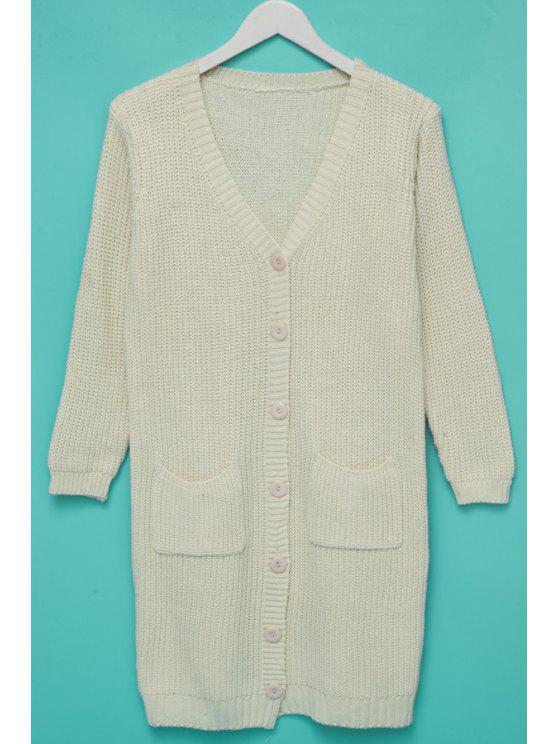 sale Single-Breasted Pocket Long Cardigan - OFF-WHITE ONE SIZE(FIT SIZE XS TO M)