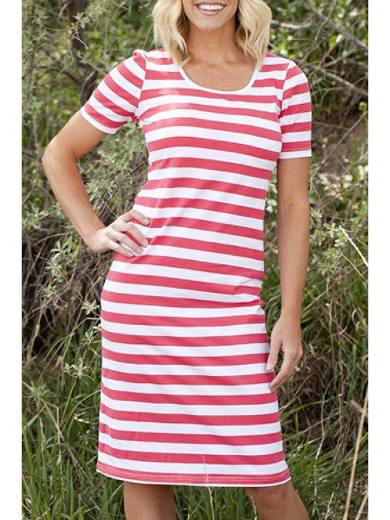 best Stripes Scoop Neck Short Sleeve Midi Dress - RED XL