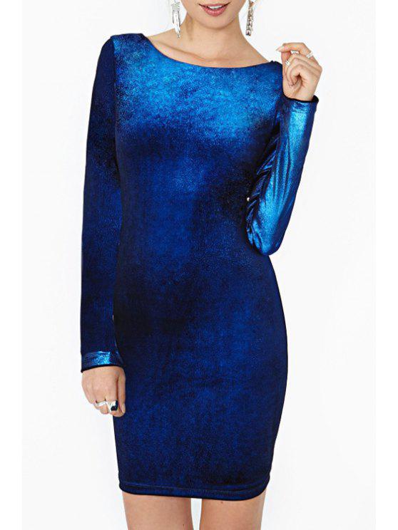 trendy Long Sleeve Backless Bodycon Dress - SAPPHIRE BLUE XL