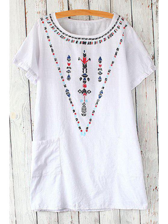 buy Scoop Neck Geometric Print Short Sleeve T-Shirt - WHITE ONE SIZE(FIT SIZE XS TO M)