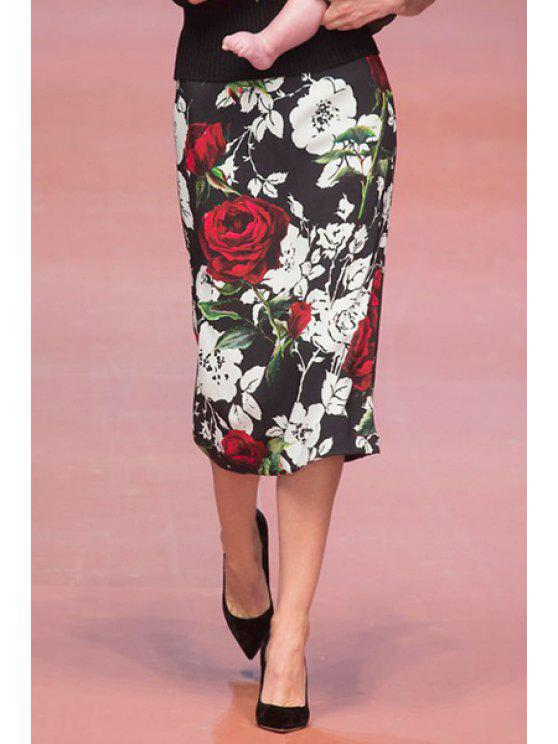 latest Flower Print High Waisted Pencil Skirt - AS THE PICTURE S