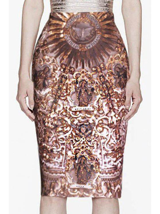 chic Vintage Print High Waisted Pencil Skirt - AS THE PICTURE S
