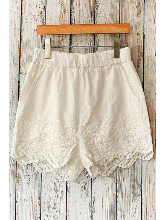 buy Tiny Floral Embroidery Shorts - WHITE ONE SIZE(FIT SIZE XS TO M)