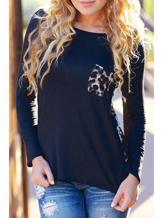 chic Long Sleeve Leopard Pattern Spliced T-Shirt - BLACK S