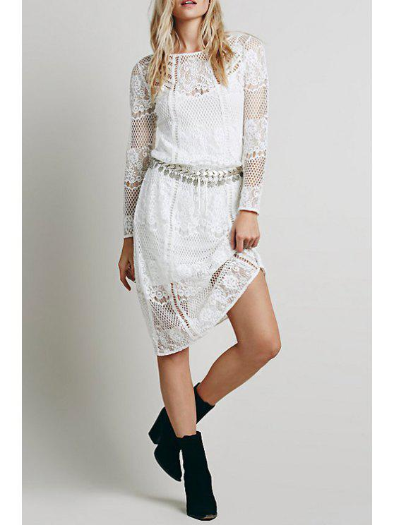women Cami White Dress and Lace Long Sleeve Dress Twinset - WHITE ONE SIZE(FIT SIZE XS TO M)