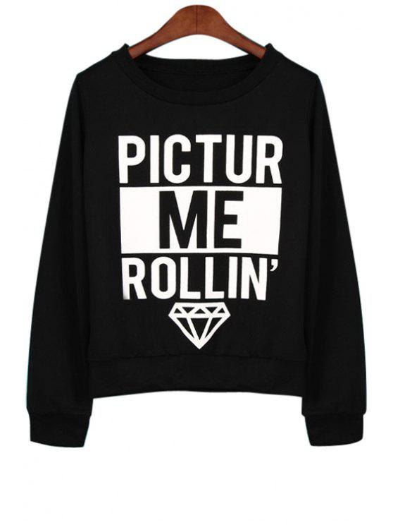 ladies Letter Print Loose Fitting Sweatshirt - BLACK S