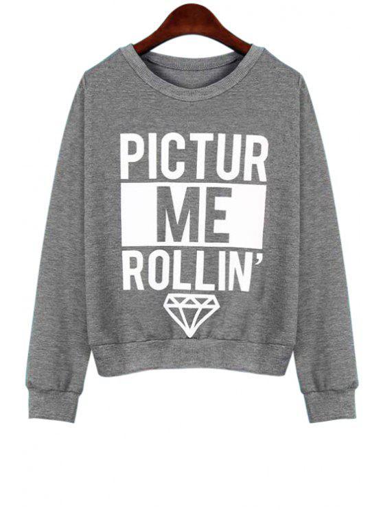 chic Letter Print Loose Fitting Sweatshirt - GRAY XL