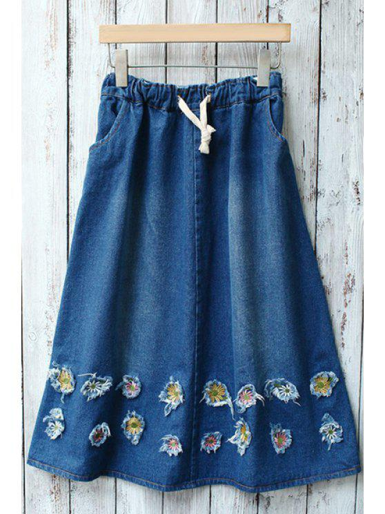 hot Tiny Floral Embellished Denim Skirt - BLUE ONE SIZE(FIT SIZE XS TO M)