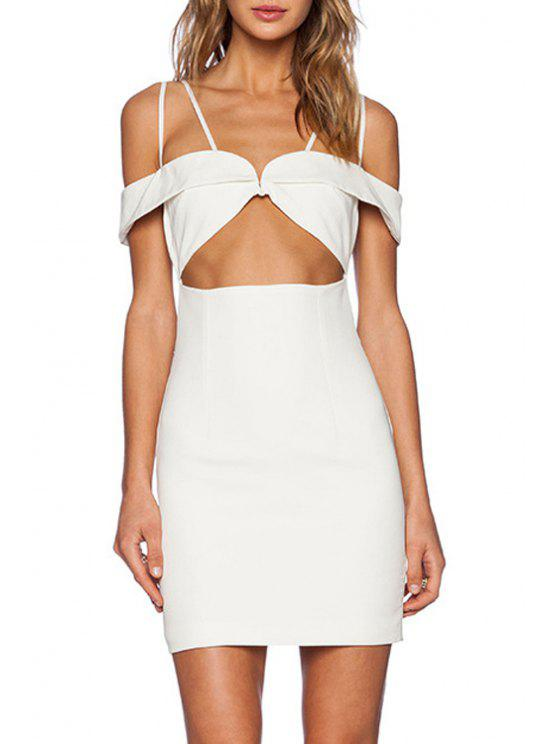 buy Solid Color Cami Cut Out Bodycon Dress - WHITE S