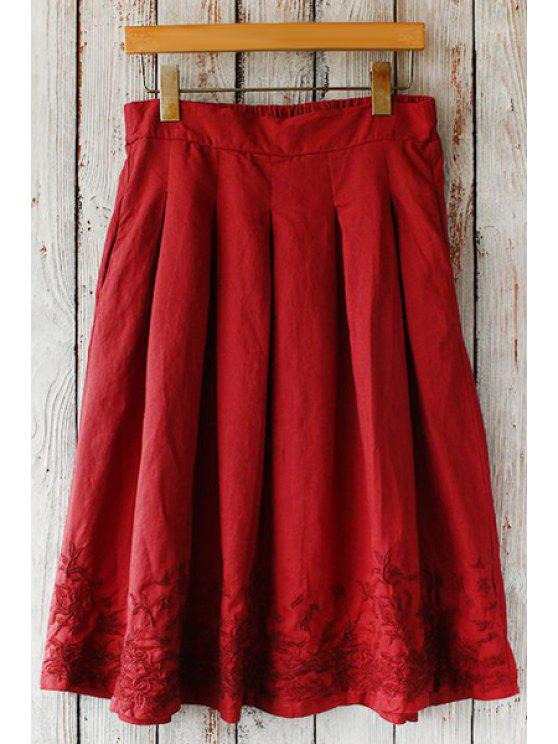 outfits Floral Embroidery Pocket Skirt - RED ONE SIZE(FIT SIZE XS TO M)