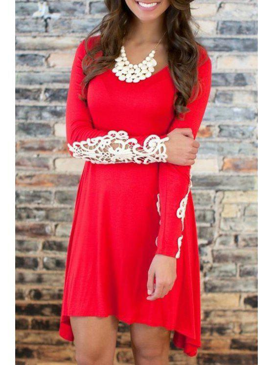 fashion Long Sleeve Lace Spliced Irregular Dress - RED S