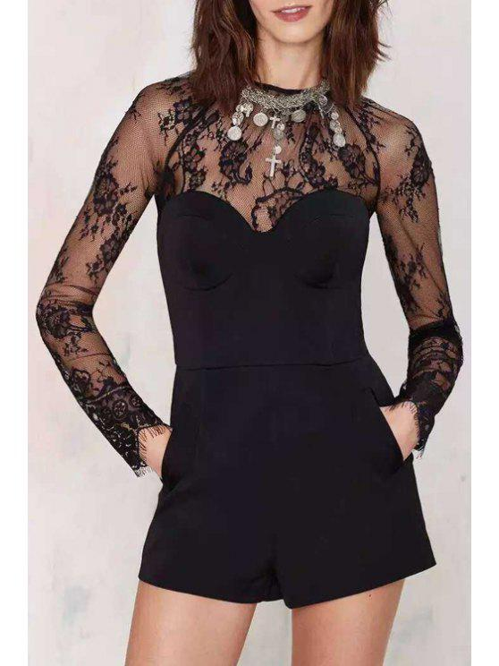 online Lace Splicing Long Sleeve Playsuit - BLACK S