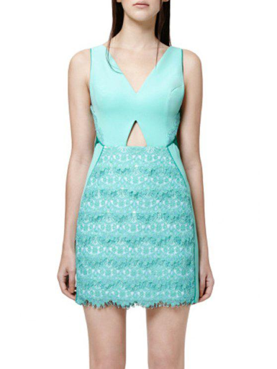 hot Lace Spliced V Neck Sleeveless Hollow Dress - MINT GREEN S