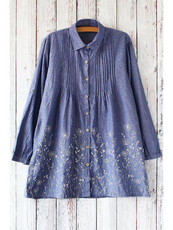 chic Polo Collar Dandelion Print Long Sleeve Shirt - BLUE ONE SIZE(FIT SIZE XS TO M)